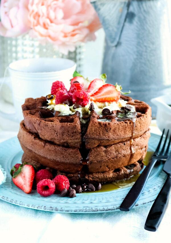 Chocolate Chip Brownie Waffles (vegan, gf, nf)