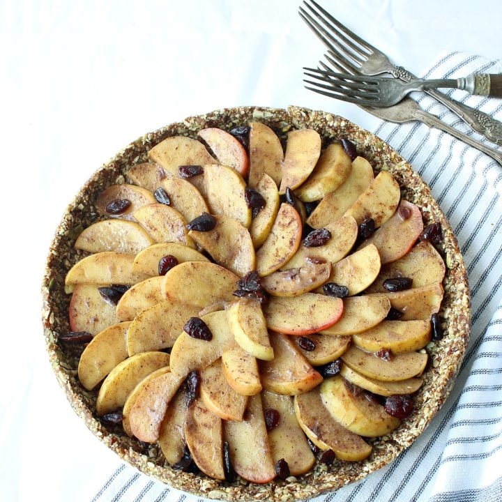 Gluten-free, no bake, apple pie, wrapped in a nutritious seed crust. Vegan, Nut-free, Paleo