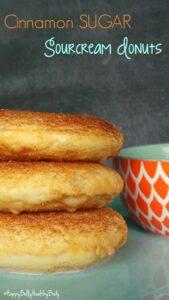 Cinnamon Sugar Sour Cream Donuts, Vegan & Nut free. No frying required