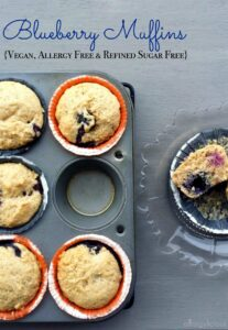A pinch of cinnamon is the perfect compliment to blueberries in this allergy friendly and vegan muffin.