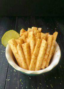 Jicama fries up close