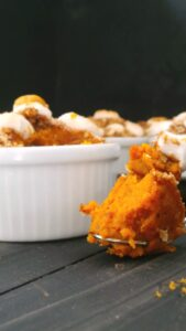 Individual Sweet Potato Casseroles loaded with sweet streusel & marshmallow topping. The perfect bite awaits. DF,EF,NF,GF& Vegan