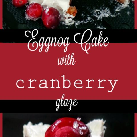 Vegan Eggnog Cake with Cranberry Glaze