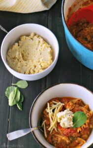 Vegan & GF Lasagna Soup, loaded with veggies, topped with spinach and fresh tofu ricotta.