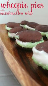 Chocolate Peppermint Whoopie Pie layered with Marshmallow Whip. Completely vegan, GF & amazing.