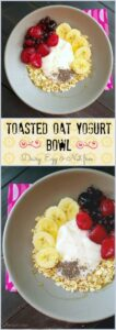 Don't settle for just a bowl of yogurt when you can make this filling yogurt bowl, loaded with toasted oats & coconut then topped with warm berry compote and sweetened with an agave drizzle.