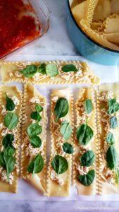 making lasagna rolls