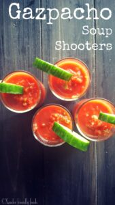 Bring the party to your mouth with easy to make, veggie packed, Gazpacho Shooters. #plantbased #spicy #gazpacho www.Xanderfriendlyfoods.com