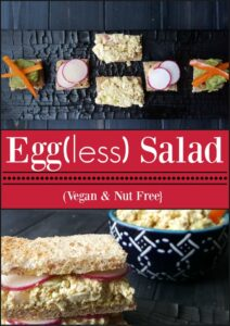 """This creamy """"egg"""" salad is made in minutes, using tofu instead, keeping it egg-free & allergy friendly. Protein packed, easy to make and quite egg-cellent."""