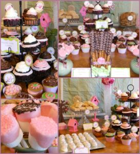 Delicious, vegan desserts fill this baby shower table.