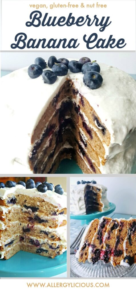 Amazingly decadent, Banana Blueberry Cake.  Vegan & gluten-free