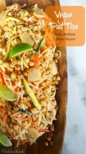 Zesty, fresh & nutritious vegan Pad Thai. It's a little bit of sweet, a little bit of sour, and slightly nutty without the nuts.