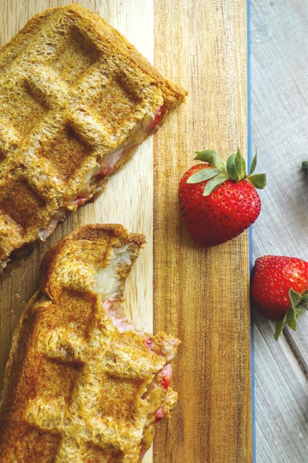 banana berry waffle sandwich