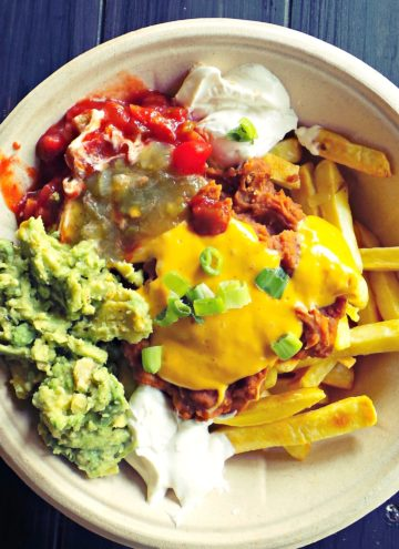 Loaded bowl of Papas Nachos