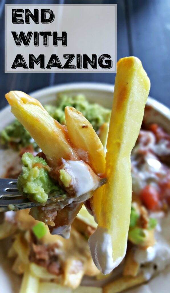 The heartiest, most delicious allergy-friendly twist on nachos I've ever had. Crispy organic french fries, fresh avocado mash, refried beans, salsa, sour cream and diced tomatoes layered with a quick and easy vegan melted cheese.