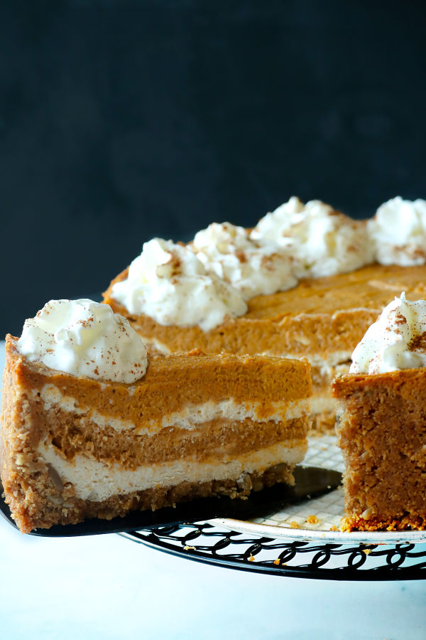 pumpkin cheesecake served
