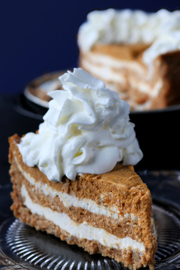 side view of pumpkin cheesecake