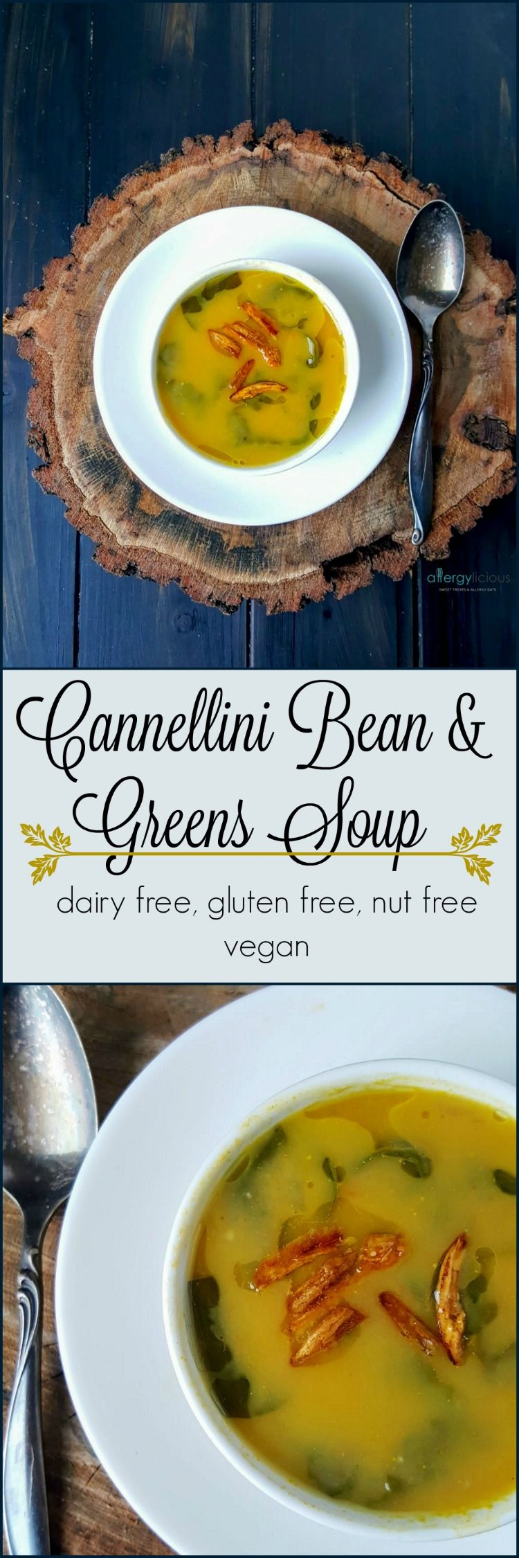 Puréed cannellini beans give this soup its velvety, rich texture without the need for cream while fresh greens ups the nutritional value. Vegan, Top 8 free, GF