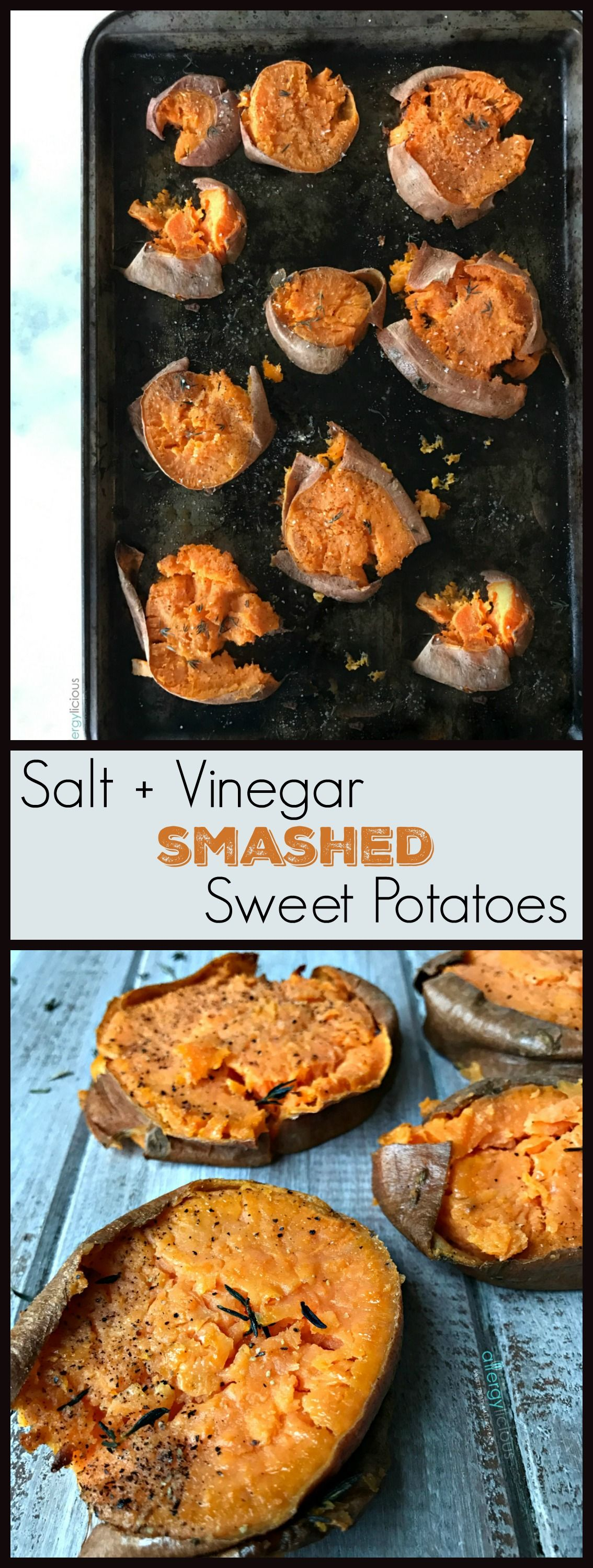 Salt and vinegar dress up these sweet potato bites for a mouth watering, tangy & delicious take on a classic potato chip.