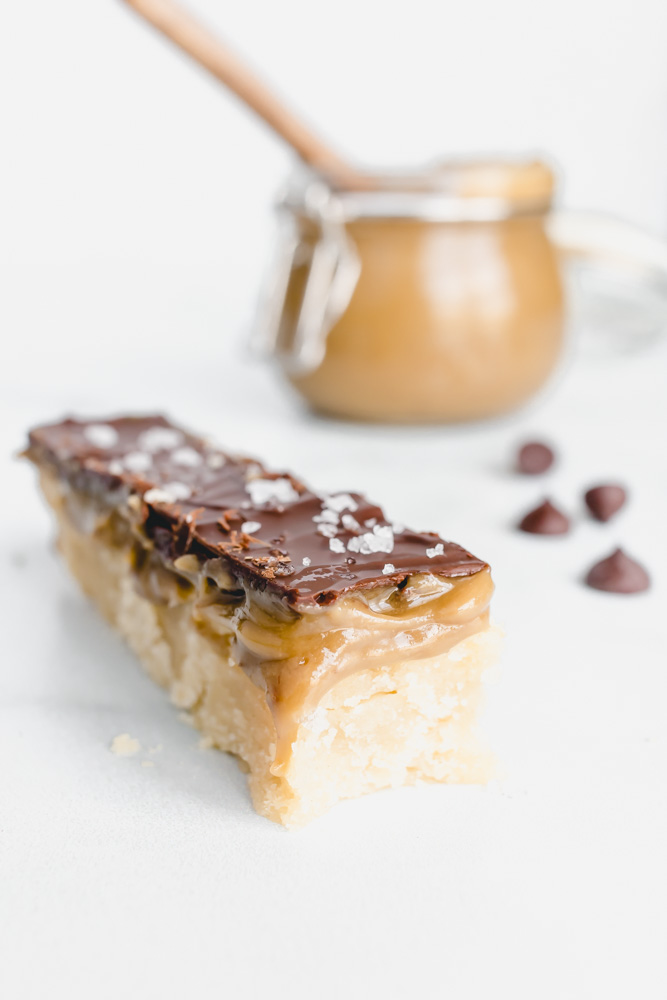 allergy friendly homemade twix bar cookie