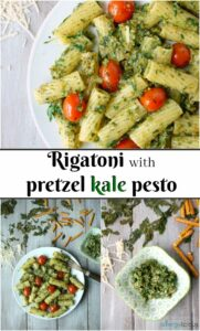 Rigatoni with pretzel pesto long pin