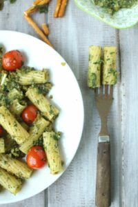 Rigatoni with pretzel pesto