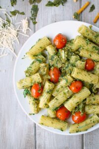 Next time you're craving pasta, try this healthier Rigatoni with a delicious, allergy-friendly, Kale & Pretzel Pesto. V,GF,NF