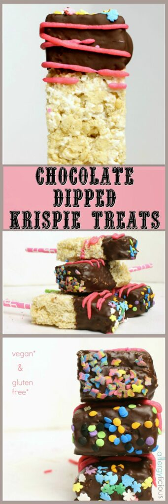 How do you make Rice Krispie Treats better? How about making them allergy-friendly then dipping them in chocolate for a delicious, Gluten-free & Vegan Chocolate Dipped Krispie Treats so almost everyone can enjoy.