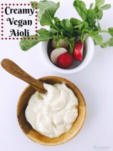 This garlic-infused, Creamy Vegan Aioli can be made in less than 5 minutes and it's completely free of dairy, egg, soy, gluten or nuts.