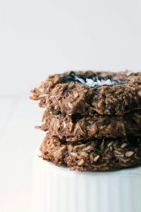 You're going to love these chewy, coconut & chocolate cookies made from a few simple ingredients. Not too sweet but perfect for dessert or breakfast.