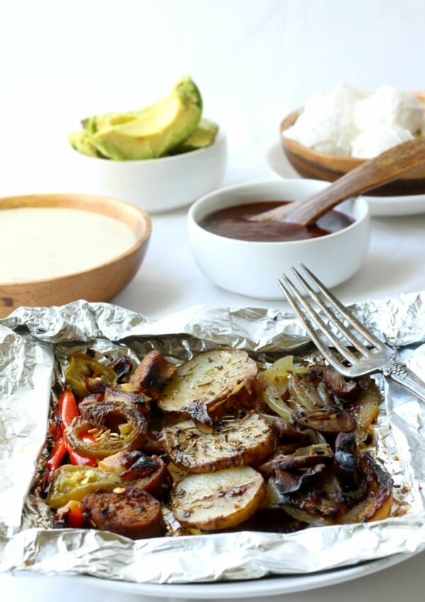 Potato & Veggie Foil Pack Dinner is easy & delicious, seasoned with herbs and grilled to perfection .
