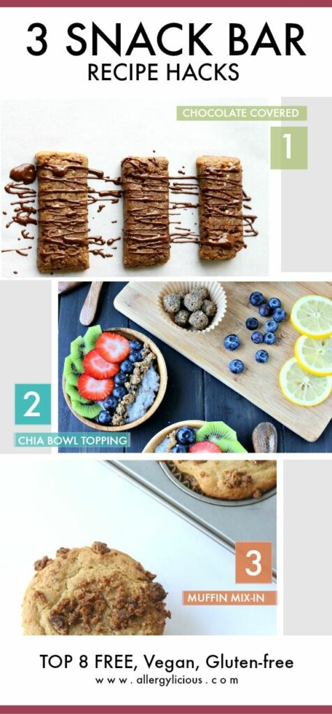 Pack these all-natural baked chewy  bars in your lunch or get creative with these delicious recipe hacks using 3 new flavors, vega, top 8 free, gluten-free