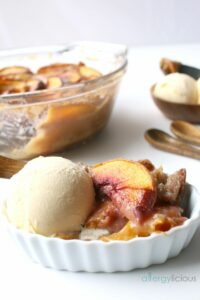 Grandma's Homemade Peach Cobbler recipe with an allergy-friendly twist.