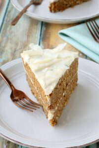 Crazy good carrot cake, perfectly spice & topped with delicious homemade frosting