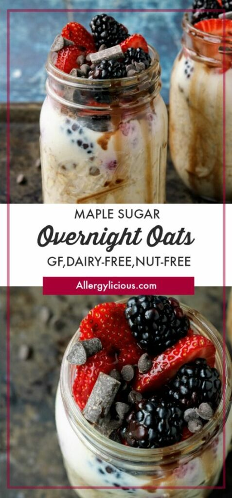 This Maple Sugar Overnight Oats is an incredibly effortless yet healthy make-ahead breakfast for your busy mornings! Vegan, Allergy-friendly