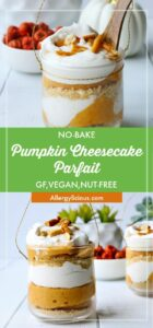 This no-bake pumpkin cheesecake parfait is the ultimate sweet ending to your holiday feast. Vegan & Gluten-free