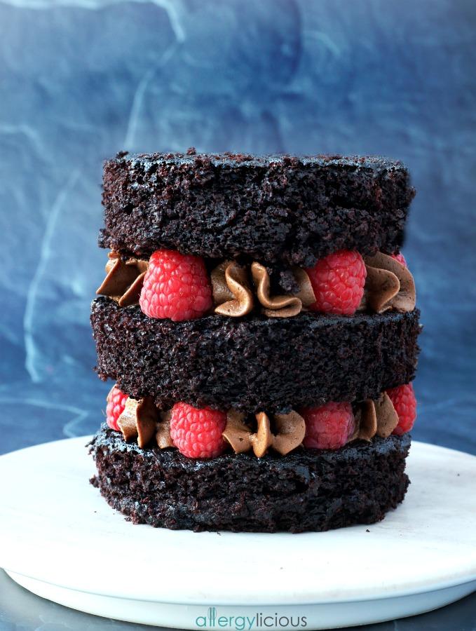 Chocolate Raspberry Cake Vegan and Gluten free Allergylicious