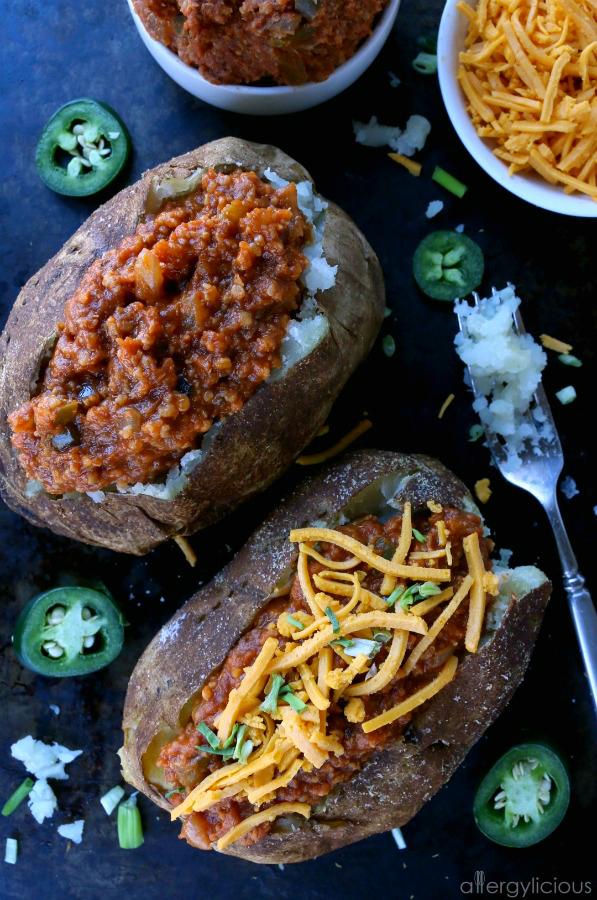 Crispy baked potatoes topped with Whole30 Vegan Sloppy Joes
