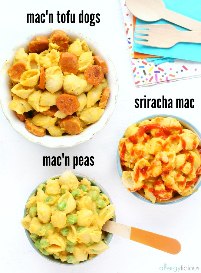Creamy, vegan mac and cheese with mix-ins