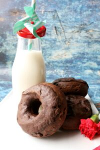 Chocolate donuts with vegan milk
