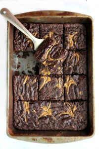 vegan chocolate brownies cut