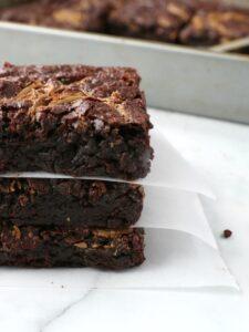 Serving 3 vegan chocolate brownies