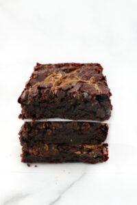 3 stacked vegan chocolate brownies