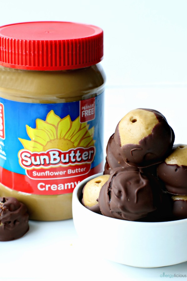 SunButter jar and Buckeyes