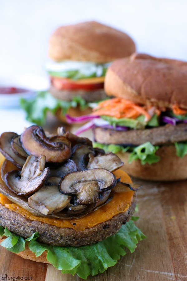 mushroom onion grillable veggie burger