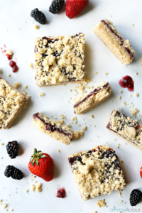 raspberry shortbread bars served