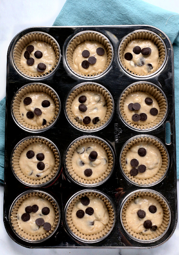 Chocolate chip pancake muffins in tin