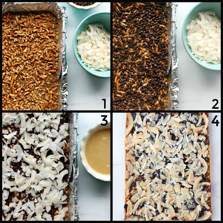 4 steps to make magic cookie bars