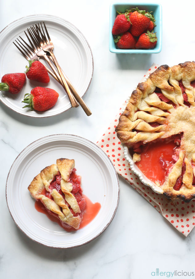 serving of strawberry pie