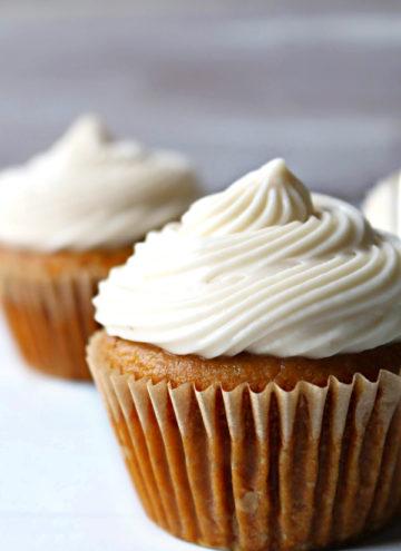 close-up pumpkin cupcakes